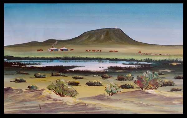 """Картина """"Юрты в степи"""". По монгольским ...: www.etnoshop.net/suv/kartina/mongol-8.htm"""